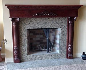 We sell fireplace mantels including custom wood fireplaces